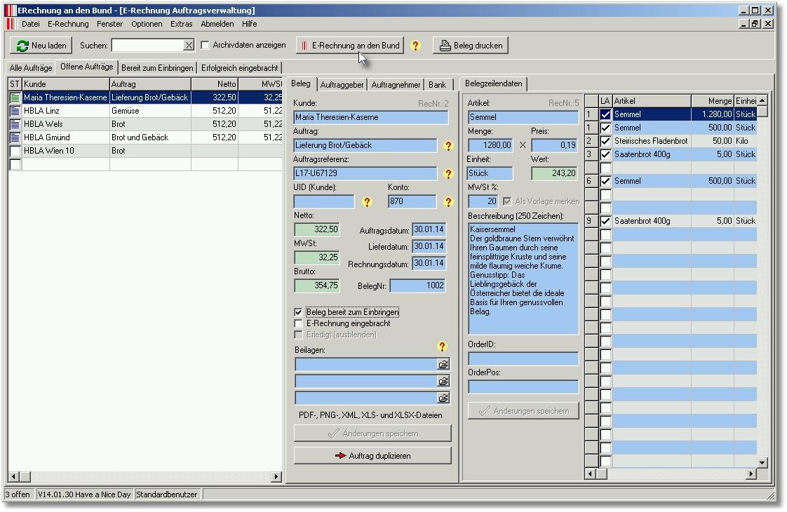 ACON E-Rechnung: Acon-Seiten